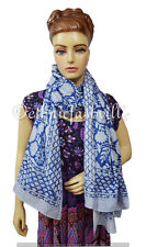 Indian Fashion Women Multi Use Long Block Print Cotton Scarf Wrap Sarong Shawl-7