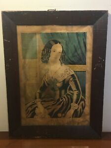 "Antique Nathaniel N. Currier Print ""SUSANNA"" Wood Frame With Provenance"