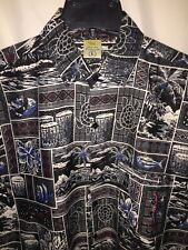 Rima Men's L Tropical Shirt 100% Terivoile Turtles Island Pocket Drums Fish Flor