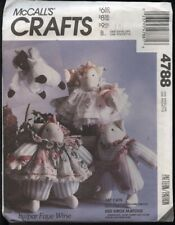 McCall's 4788 Sewing Pattern Faye Wine 'Fat Cats' Stuffed Dolls/Clothes VTG UC