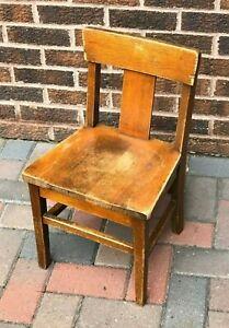 Vintage Oak Wood Childs Chair