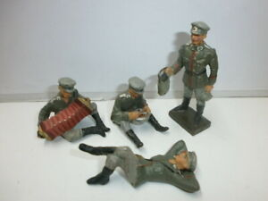 Konvolut 4 alte Lineol Massesoldaten Biwak Lagerleben mit Schirmmütze zu 7.5cm