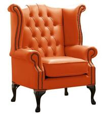 Chesterfield Armchair Queen Anne High Back Wing Chair Firestone Orange Leather