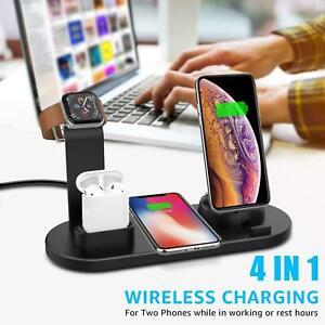 4in1 Wireless Charger Stand Charging Station Dock For AirPods Apple Watch iPhone