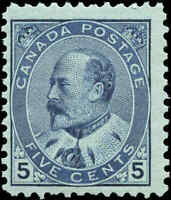 1903 Mint NH Canada F+ Scott #91 5c King Edward VII Issue Stamp