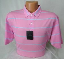Dunning Golf Stripe Print Pique Knit Polo Shirt in Light Pink MSRP $89 NWT- in L