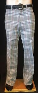 Checked Flared pants, 1970 s, grey/ blue/maroon, polyester, USA, by Kings Roa...