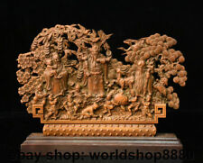 "10"" Old Chinese Boxwood Wood 3 Longevity God Fu Lu Shou Life Boys Deer Screen"