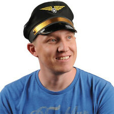 Black Pilot Hat Airplane Captain Flight Airline Costume Cap Wings Adult
