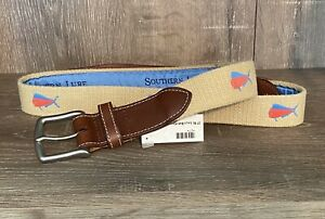 sz 36 NEW $84 Southern Lure Embroidered Canvas Belt Leather Trim