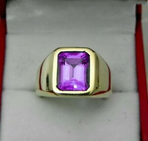 Natural Amethyst Gemstone 18K Yellow Gold Men's Ring Jewelry 028G