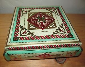 Vintage Western Germany Container Tin green red & Gold Decor Candy Biscuit