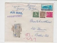 India Registered Air mail Bombay cancel mixed stamps cover ref 21822