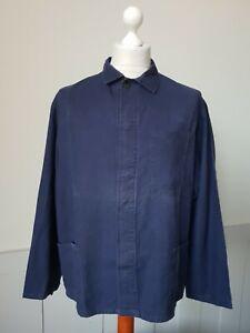VINTAGE Worker CHORE Blue Work Shirt Jacket Hobo Worn Faded SIZE XL *TS21*