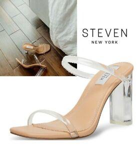 NIB SIZE 8.5 STEVEN BY STEVE MADDEN NEW YORK WOMEN'S JACEE CLEAR HEELED SANDAL