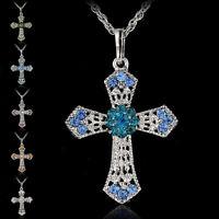 Nuevo Silber Schmuck Kreuz Kristall Anhänger Pullover Kette Halskette DamenDBSD