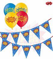 "Bundle of Superhero Birthday Bunting Banner and 12  mix 12"" latex balloons"
