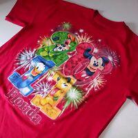 Walt Disney World Florida 2011 red T-Shirt Mickey Mouse Goofy Donald Pluto large