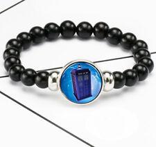 Doctor Who Police Box Tardis Photo Glass Noosa Snap Chunk Elastic Beads Bracelet