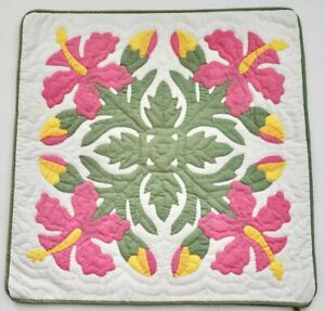 Hawaiian quilt handmade hand quilted/appliquéd cushions pillow covers HIBISCUS