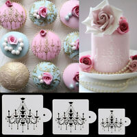 3X Chandelier-Lace Wedding Cake Cookie Fondant Baking Stencil Decorating Tools o