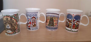 Set Of 4 Bone China Sue Scullard Christmas Mugs In Excellent Condition