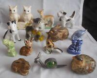Collection 14 Animal Figurines Pottery Dog Cat Owl Quail Rabbit Deer Bird Snail