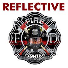 "REFLECTIVE Firefighter Thin Red Line ""MASK"" Cross Sticker Vinyl Decal #FS2032"