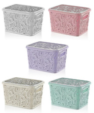 Large 17L LACE Plastic Storage Box with Lid Stackable Basket Container Boxes