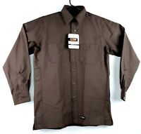 Wrangler Workwear Canvas Work Shirt Long Sleeve Brown
