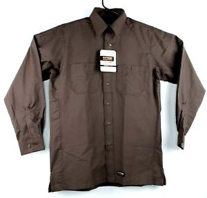Wrangler Workwear Canvas Work Shirt Long Sleeve Brown