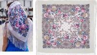 1453-1 PAVLOVO POSAD SHAWL RUSSIAN 100%WOOL SCARF WRAP CAPE 89x89cm silk fringe