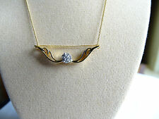 """Charming Real Diamond Cluster Angel Wings 14K Y Gold/925 18"""" Necklace"""