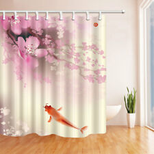 Pink cherry blossoms and red fish Bathroom Shower Curtain Waterproof Fabric 71in