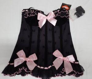 Sexy Coquette Black & Pink Hook Eye Corset w.Garter Straps Size S/P NWT