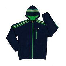 adidas Full-Zip Fleece Hoodie Large Blue/Green Warm Winter Jacket Stripes Logo