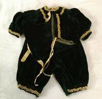 Vintage NOS  Baby Clothes Fancy Outfit Green Velvet Romper Bonnet Bib 3-6 months
