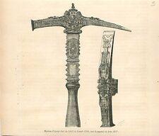Marteau d'Argent doré Jubilé du Pape Jules III en 1550 GRAVURE  OLD PRINT 1878