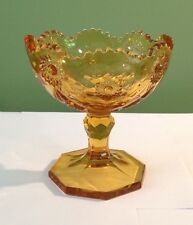 VINTAGE AMBER COMPOTE GLASS FOOTED CANDY DISH