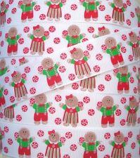 7/8 PEPPERMINT CANDY GINGERBREAD BOY GIRL CHRISTMAS GROSGRAIN RIBBON 4 BOW