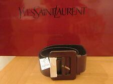 $475 YSL Yves Saint Laurent YSL Yves Bronze  Wide Square Buckle Belt size 80  22