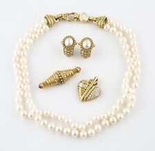 Judith Ripka 18k Gold Diamond Pearl Jewelry Set Necklace Earrings Pendant Brooch