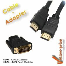 Cable and Adapter Pack - DVI-D to HDMI M/F Adaptor Coupler + 3FT HDMI Cable