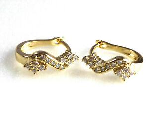 Women 14K Yellow Gold Plated Clear Simulated Diamonds Hoop Huggie Earrings UK