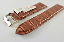 My Swiss Leather Strap Watch Bands Crocodile Pattern Width 22mm. Brown color