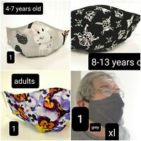 Handmade Kids & Adults Face Mask 100%cotton Pocket for Filter, Washable