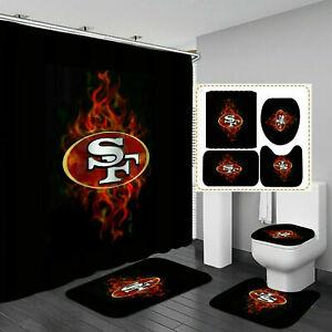 San Francisco 49ers Bathroom Rugs Set Shower Curtain Bath Mat Toilet Lid Cover