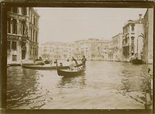 Italie, Venise, Vue du Grand Canal, les gondoles,  1903, vintage citrate print V