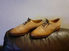 JOHN LEWIS MENS LEATHER BEIGE/BROWN LACE UP SHOES UK SIZE 5