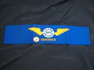 WW2 US Air Force Observer AWS Arm Band with Pin Back Aircraft Warning Wings WWII